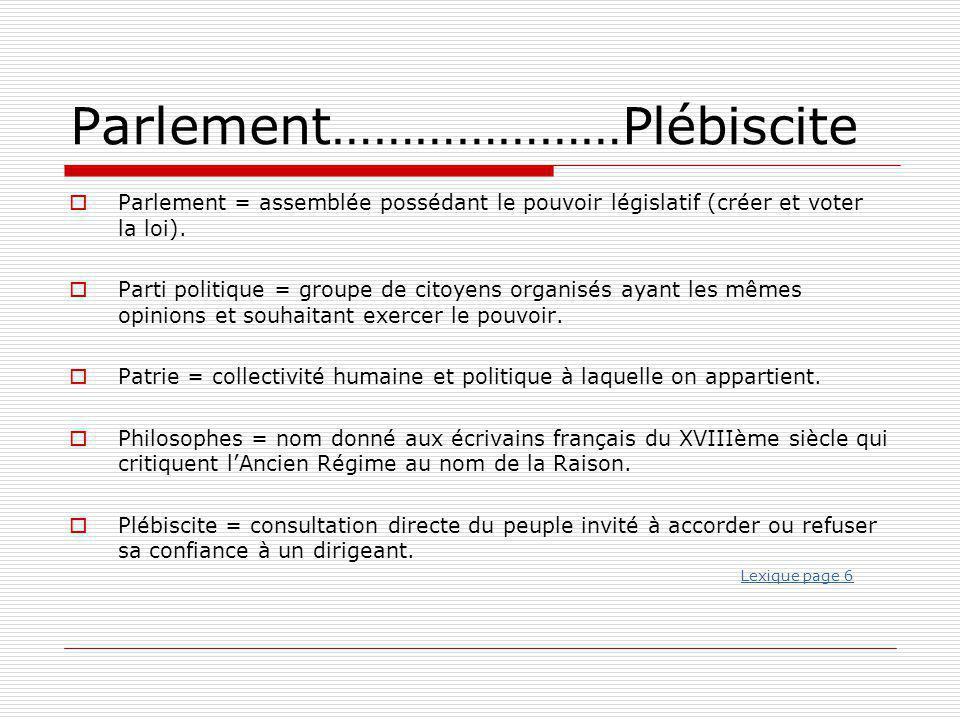 Parlement…………………Plébiscite  Parlement = assemblée possédant le pouvoir législatif (créer et voter la loi).  Parti politique = groupe de citoyens org