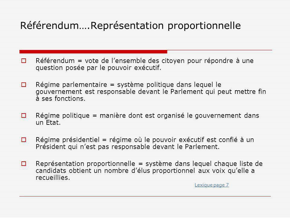 Référendum….Représentation proportionnelle  Référendum = vote de l'ensemble des citoyen pour répondre à une question posée par le pouvoir exécutif. 