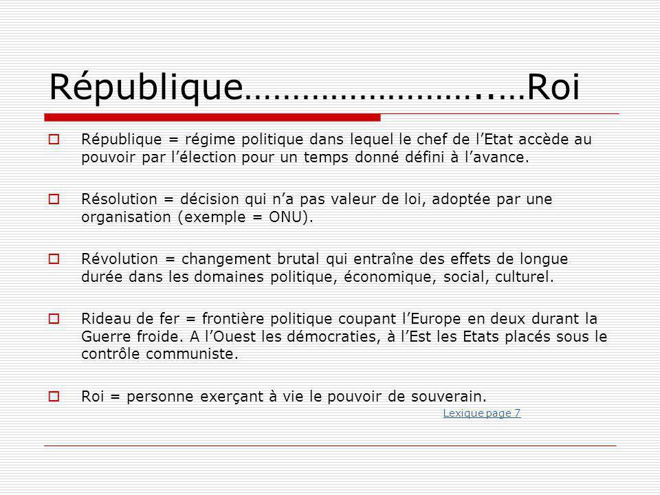 République……………………..…Roi  République = régime politique dans lequel le chef de l'Etat accède au pouvoir par l'élection pour un temps donné défini à l