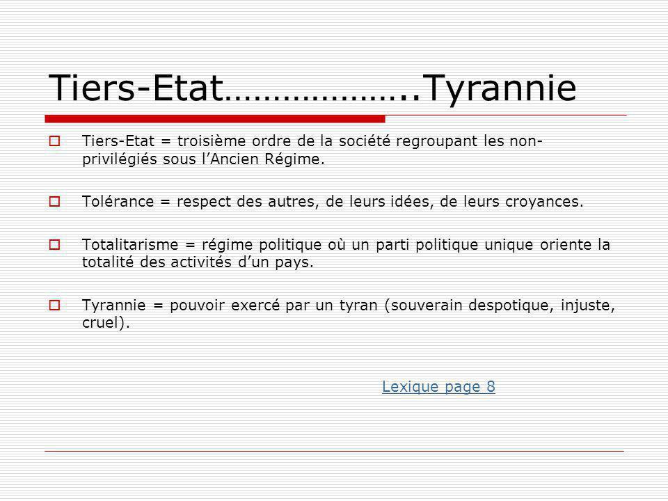 Tiers-Etat………………..Tyrannie  Tiers-Etat = troisième ordre de la société regroupant les non- privilégiés sous l'Ancien Régime.  Tolérance = respect de