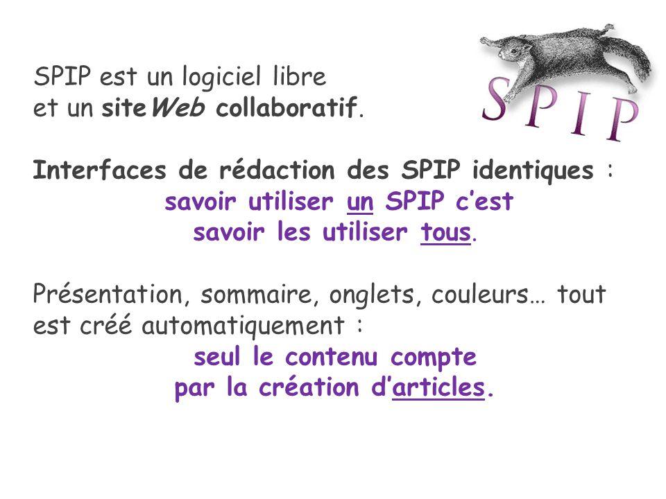 SPIP est un logiciel libre et un siteWeb collaboratif.