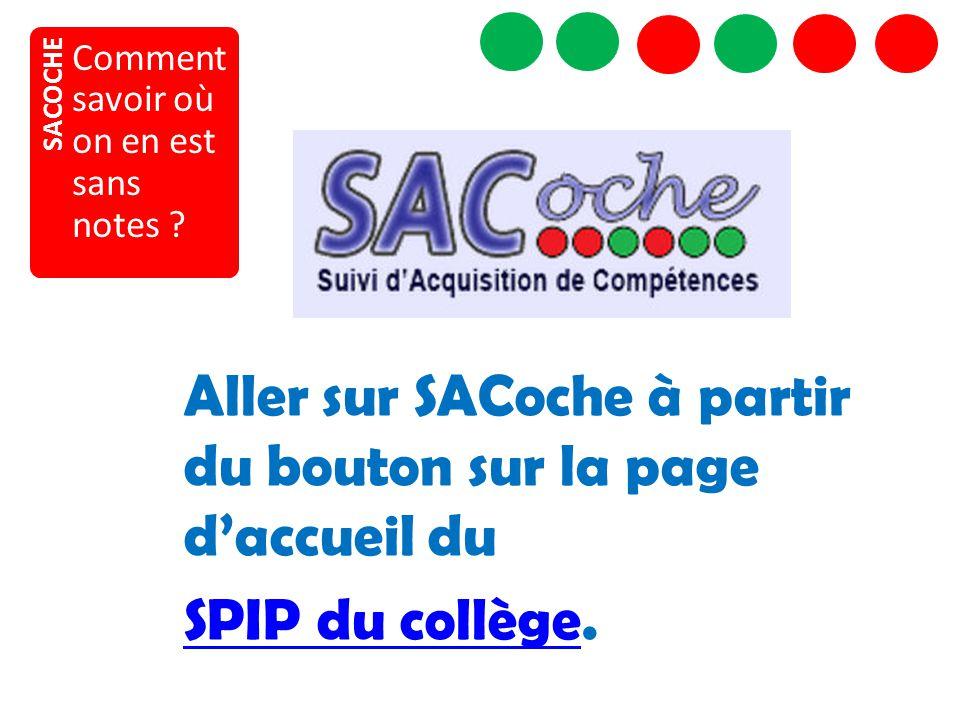 SACOCHE Comment savoir où on en est sans notes ? Aller sur SACoche à partir du bouton sur la page d'accueil du SPIP du collègeSPIP du collège.