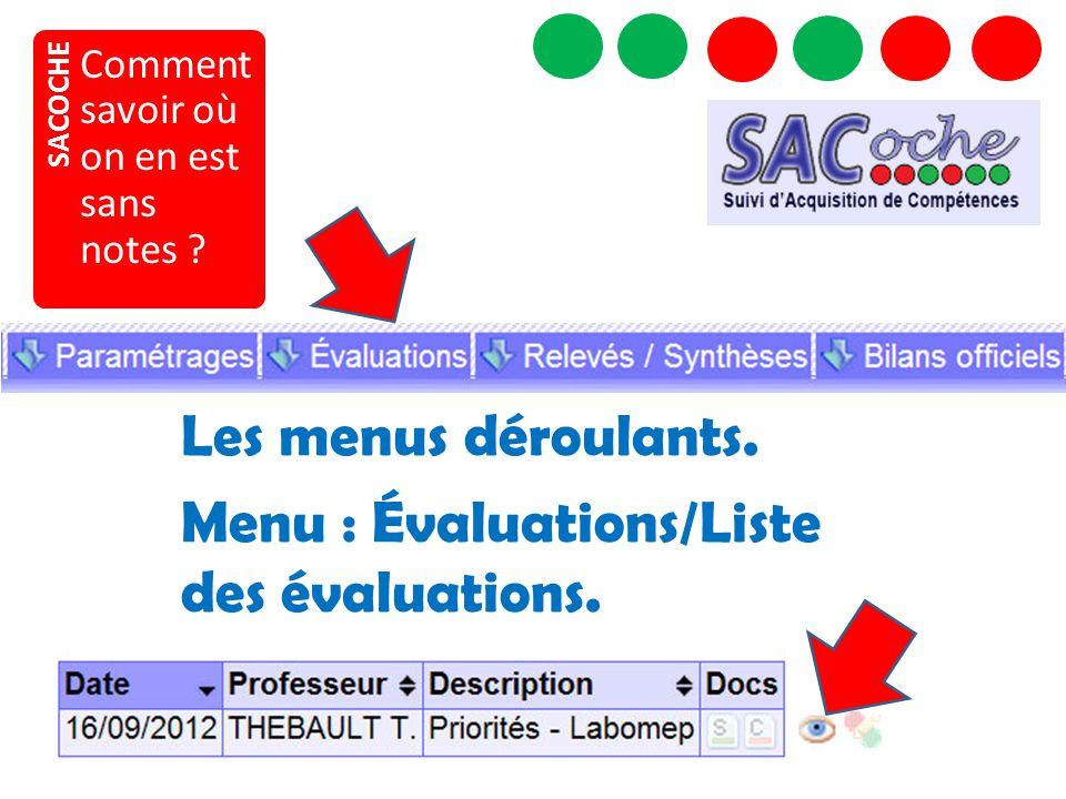 SACOCHE Comment savoir où on en est sans notes ? Les menus déroulants. Menu : Évaluations/Liste des évaluations.
