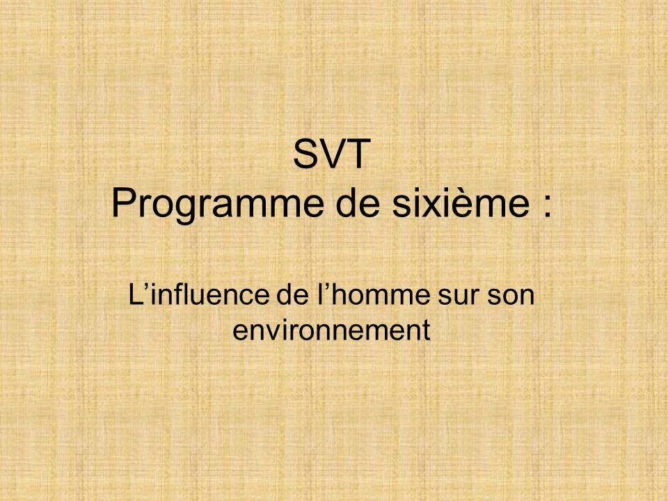SVT Programme de sixième : L'influence de l'homme sur son environnement