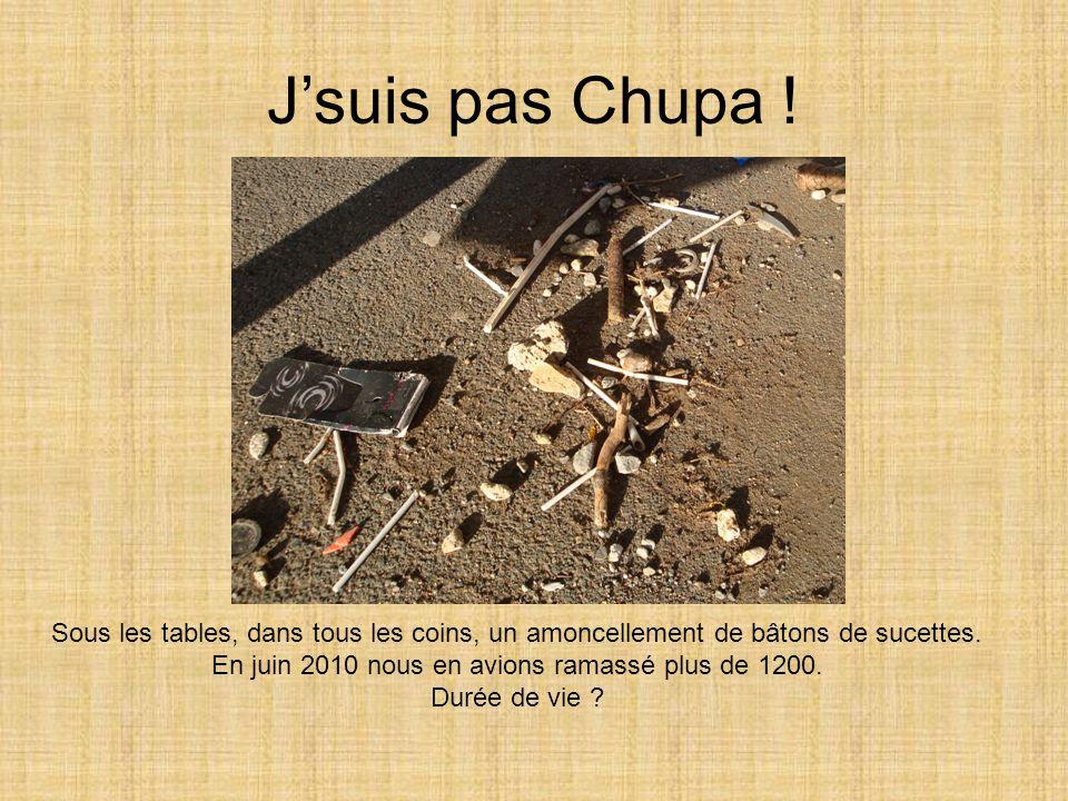 J'suis pas Chupa ! Sous les tables, dans tous les coins, un amoncellement de bâtons de sucettes. En juin 2010 nous en avions ramassé plus de 1200. Dur