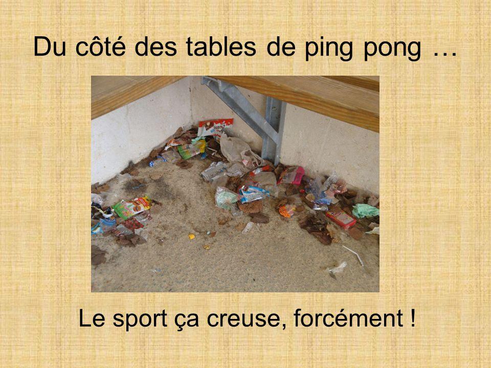 Du côté des tables de ping pong … Le sport ça creuse, forcément !