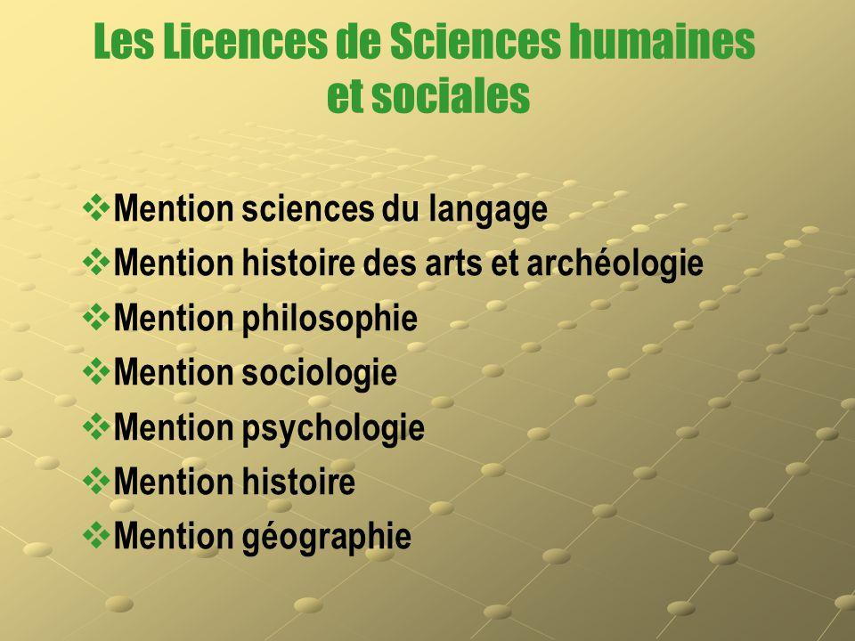 Les Licences de Sciences humaines et sociales   Mention sciences du langage   Mention histoire des arts et archéologie   Mention philosophie  