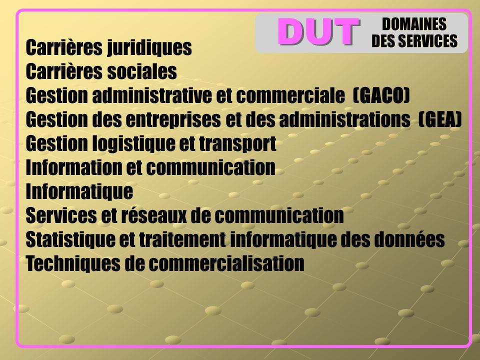 DOMAINES DES SERVICES DOMAINES DES SERVICES Carrières juridiques Carrières sociales Gestion administrative et commerciale (GACO) Gestion des entrepris