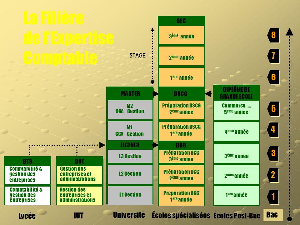 6 6 5 5 4 4 3 3 8 8 7 7 2 2 1 1 Gestion des entreprises et administrations Bac Comptabilité & gestion des entreprises La Filière de l'Expertise Compta