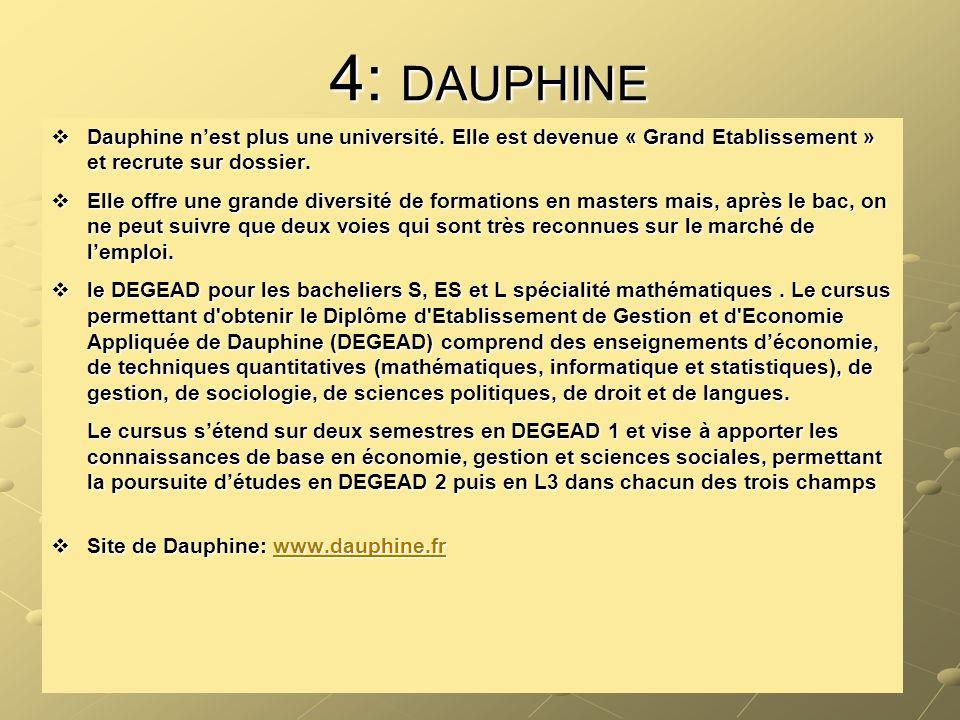 4: DAUPHINE  Dauphine n'est plus une université. Elle est devenue « Grand Etablissement » et recrute sur dossier.  Elle offre une grande diversité d