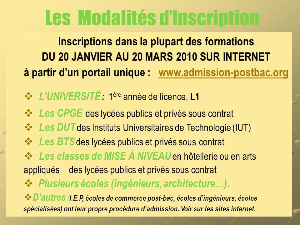Les Modalités d'Inscription Inscriptions dans la plupart des formations DU 20 JANVIER AU 20 MARS 2010 SUR INTERNET à partir d'un portail unique : www.