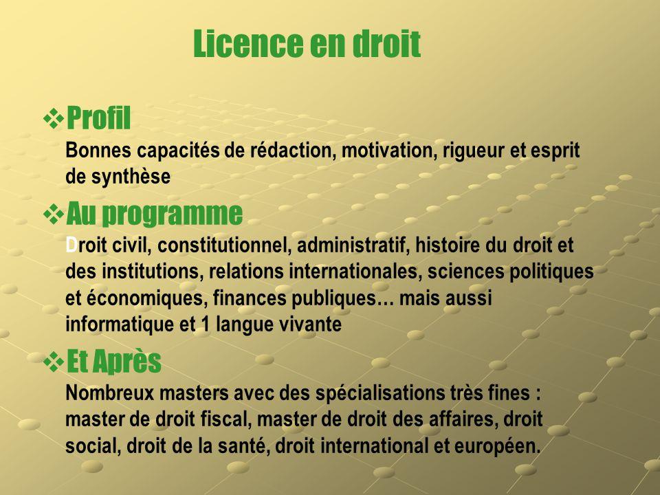 Licence en droit   Profil Bonnes capacités de rédaction, motivation, rigueur et esprit de synthèse   Au programme Droit civil, constitutionnel, ad