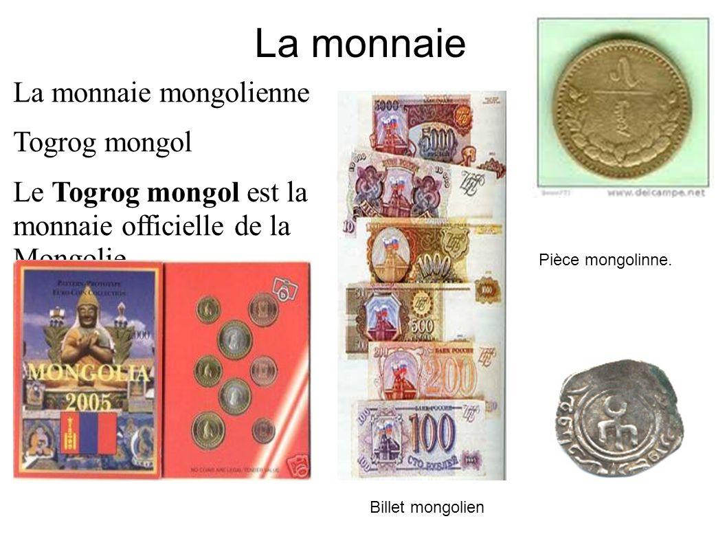 La monnaie La monnaie mongolienne Togrog mongol Le Togrog mongol est la monnaie officielle de la Mongolie.