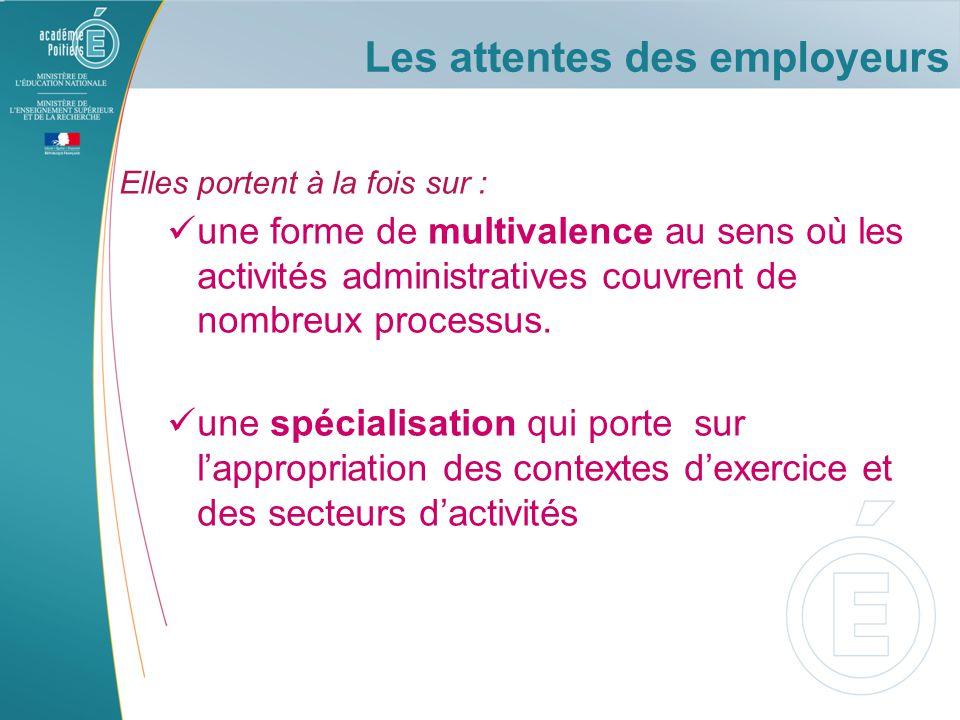 Elles portent à la fois sur : une forme de multivalence au sens où les activités administratives couvrent de nombreux processus.