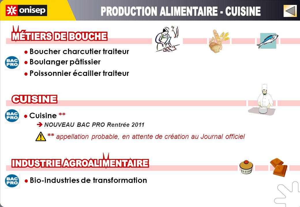 Boucher charcutier traiteur Boulanger pâtissier Poissonnier écailler traiteur Cuisine **  NOUVEAU BAC PRO Rentrée 2011 Bio-industries de transformation ** appellation probable, en attente de création au Journal officiel