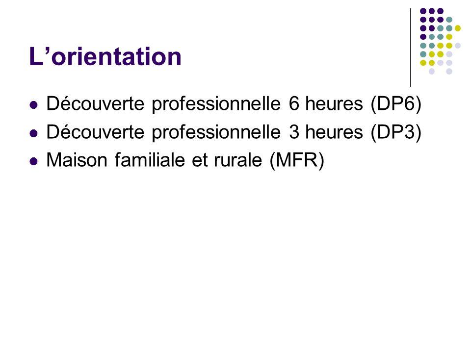 L'orientation Découverte professionnelle 6 heures (DP6) Découverte professionnelle 3 heures (DP3) Maison familiale et rurale (MFR)