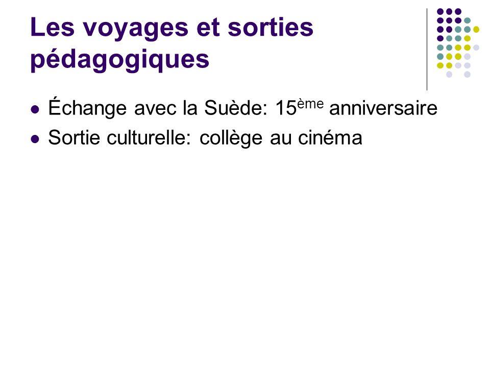 Les voyages et sorties pédagogiques Échange avec la Suède: 15 ème anniversaire Sortie culturelle: collège au cinéma
