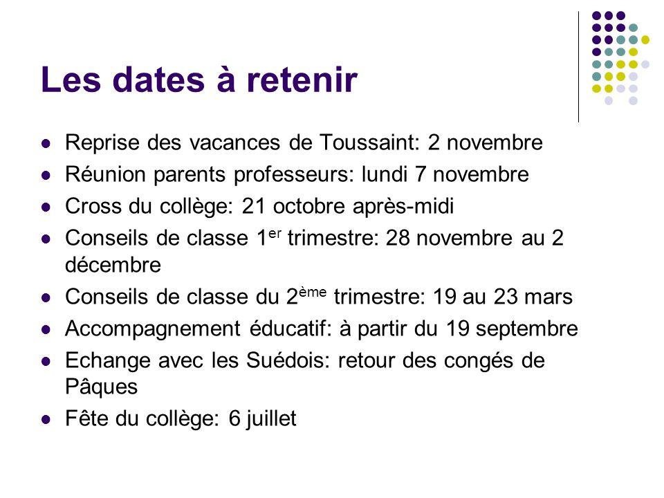 Les dates à retenir Reprise des vacances de Toussaint: 2 novembre Réunion parents professeurs: lundi 7 novembre Cross du collège: 21 octobre après-mid