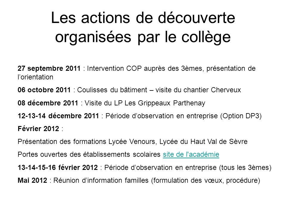 Les actions de découverte organisées par le collège 27 septembre 2011 : Intervention COP auprès des 3èmes, présentation de l'orientation 06 octobre 20