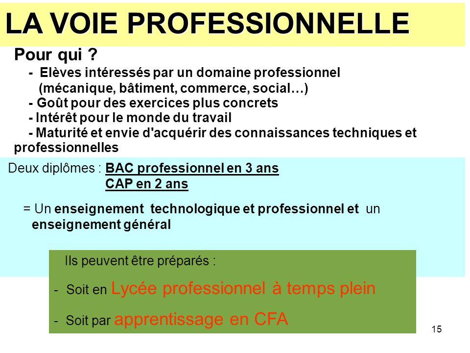 15 Deux diplômes : BAC professionnel en 3 ans CAP en 2 ans = Un enseignement technologique et professionnel et un enseignement général LA VOIE PROFESS