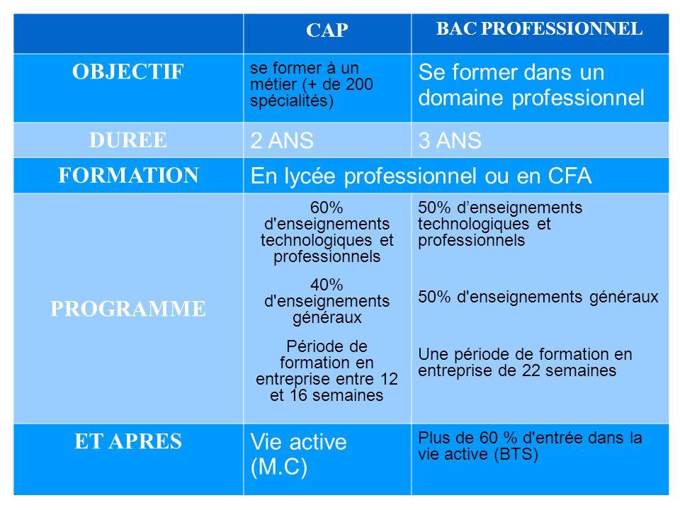 16 CAP BAC PROFESSIONNEL OBJECTIF se former à un métier (+ de 200 spécialités) Se former dans un domaine professionnel DUREE 2 ANS3 ANS FORMATION En l