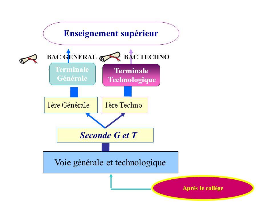 Terminale Technologique 1ère Générale Seconde G et T 1ère Techno Après le collège Enseignement supérieur Terminale Générale BAC GENERALBAC TECHNO Voie