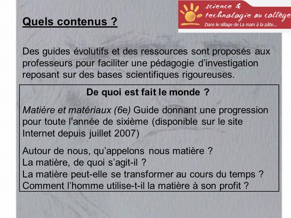 Des guides évolutifs et des ressources sont proposés aux professeurs pour faciliter une pédagogie d'investigation reposant sur des bases scientifiques rigoureuses.