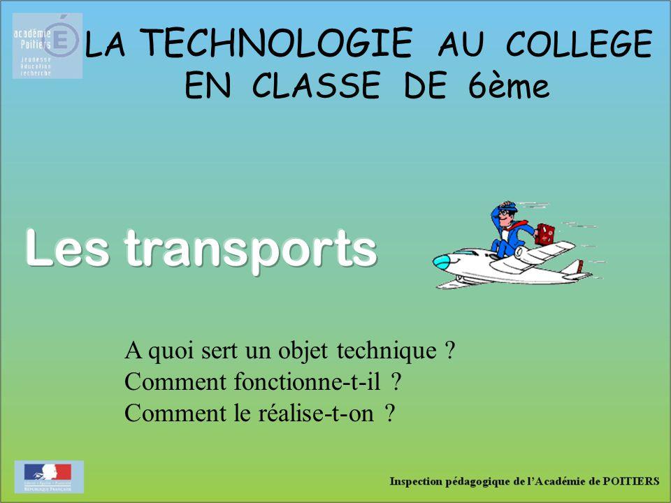 LA TECHNOLOGIE AU COLLEGE EN CLASSE DE 6ème A quoi sert un objet technique ? Comment fonctionne-t-il ? Comment le réalise-t-on ?