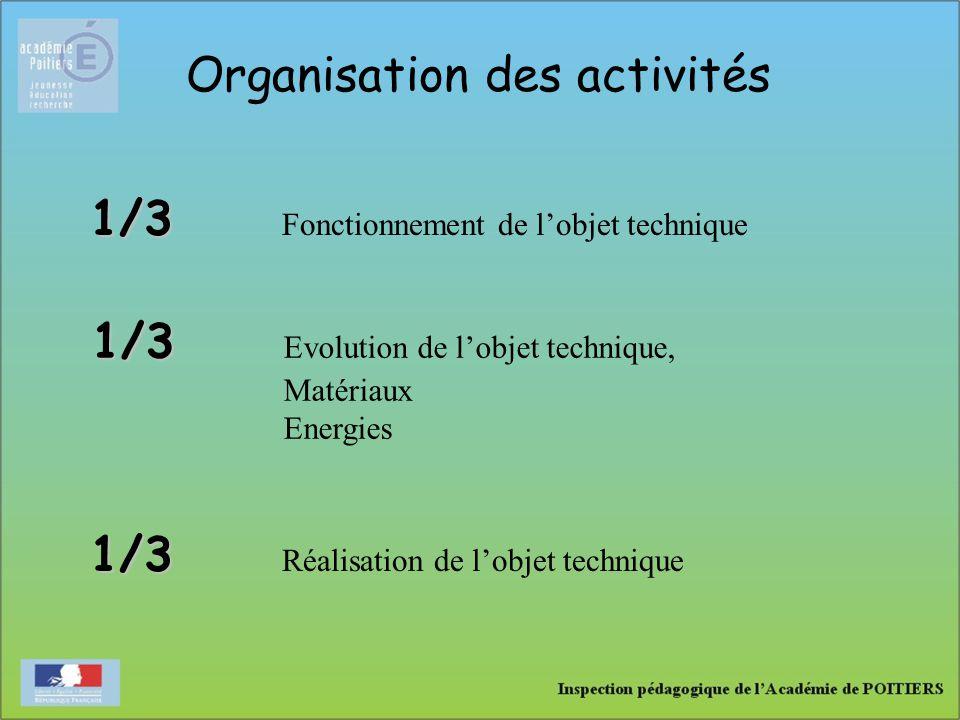 Organisation des activités 1/3 1/3 Fonctionnement de l'objet technique 1/3 1/3 Réalisation de l'objet technique 1/3 1/3 Evolution de l'objet technique