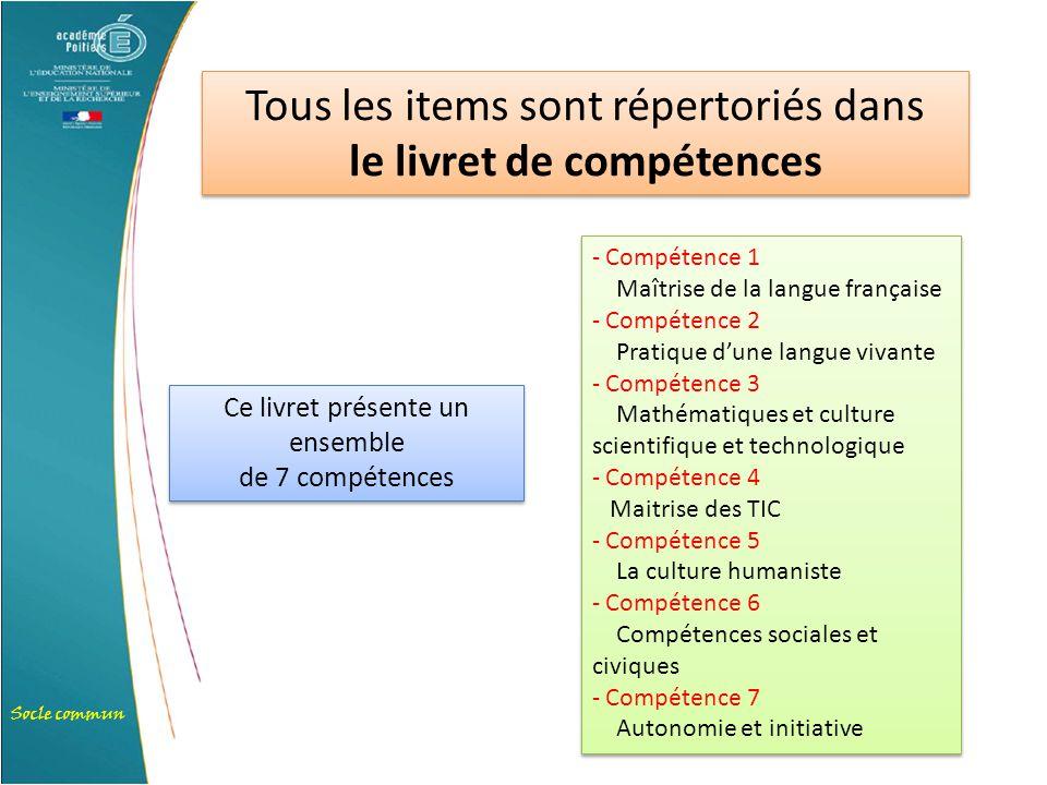 Socle commun Tous les items sont répertoriés dans le livret de compétences Tous les items sont répertoriés dans le livret de compétences Ce livret pré
