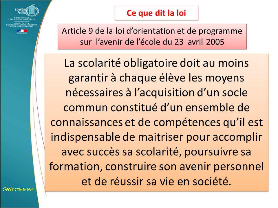 Socle commun Article 9 de la loi d'orientation et de programme sur l'avenir de l'école du 23 avril 2005 La scolarité obligatoire doit au moins garanti