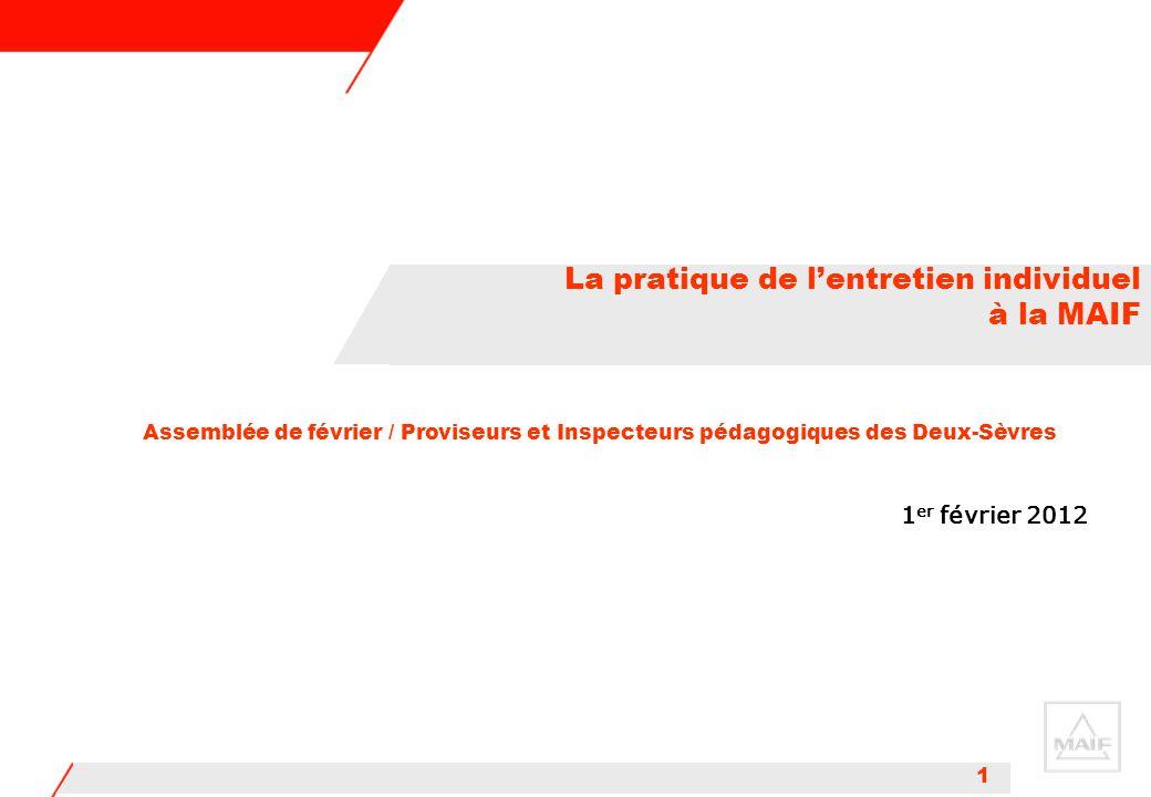 1 1 er février 2012 La pratique de l'entretien individuel à la MAIF Assemblée de février / Proviseurs et Inspecteurs pédagogiques des Deux-Sèvres