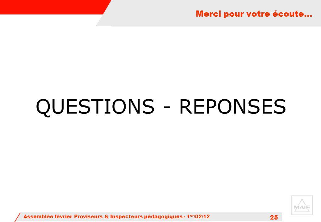 Assemblée février Proviseurs & Inspecteurs pédagogiques - 1 er /02/12 25 Merci pour votre écoute… QUESTIONS - REPONSES