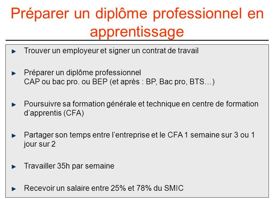 Trouver un employeur et signer un contrat de travail Préparer un diplôme professionnel CAP ou bac pro.