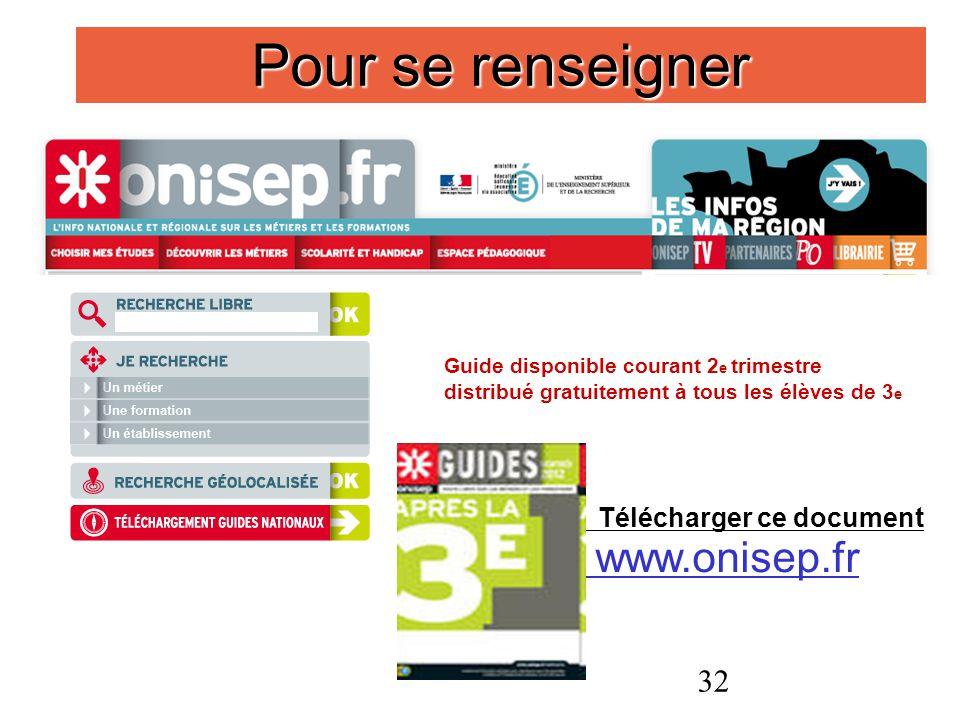 32 Pour se renseigner Guide disponible courant 2 e trimestre distribué gratuitement à tous les élèves de 3 e Télécharger ce document www.onisep.fr