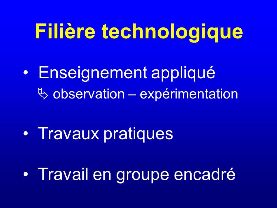 Filière technologique Enseignement appliqué  observation – expérimentation Travaux pratiques Travail en groupe encadré
