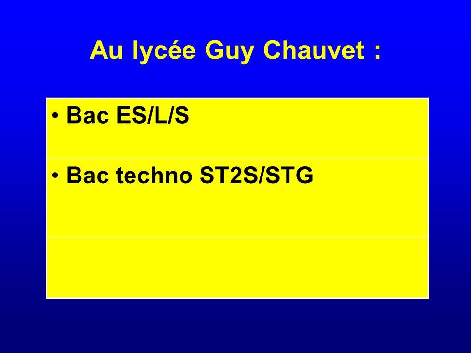 Au lycée Guy Chauvet : Bac ES/L/S Bac techno ST2S/STG