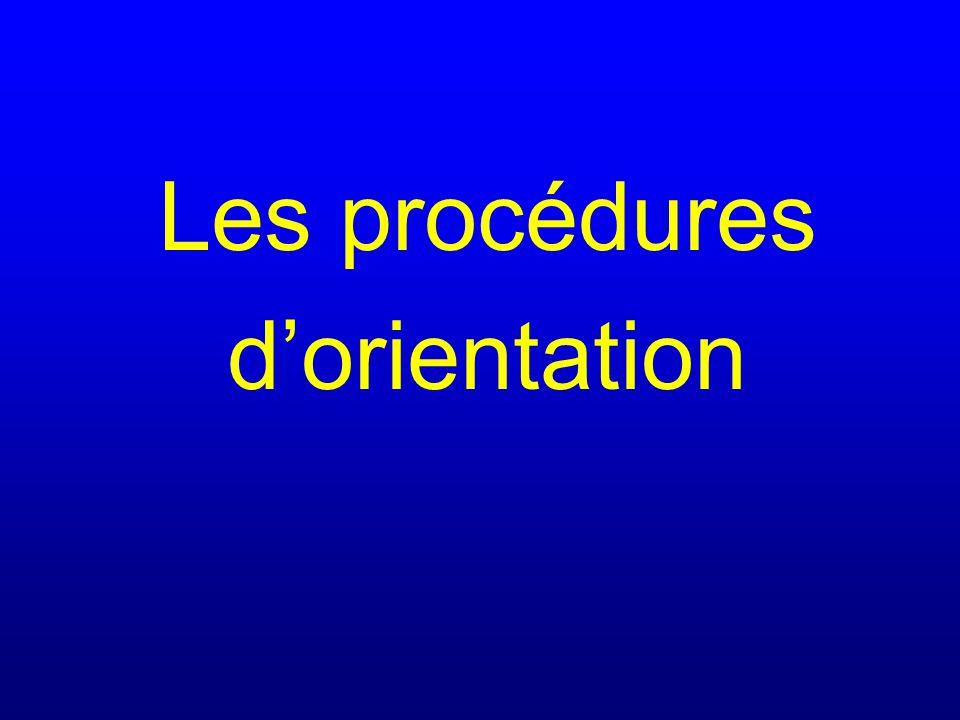 Les procédures d'orientation