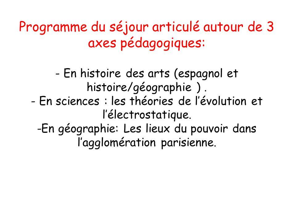 Programme du séjour articulé autour de 3 axes pédagogiques: - En histoire des arts (espagnol et histoire/géographie ). - En sciences : les théories de