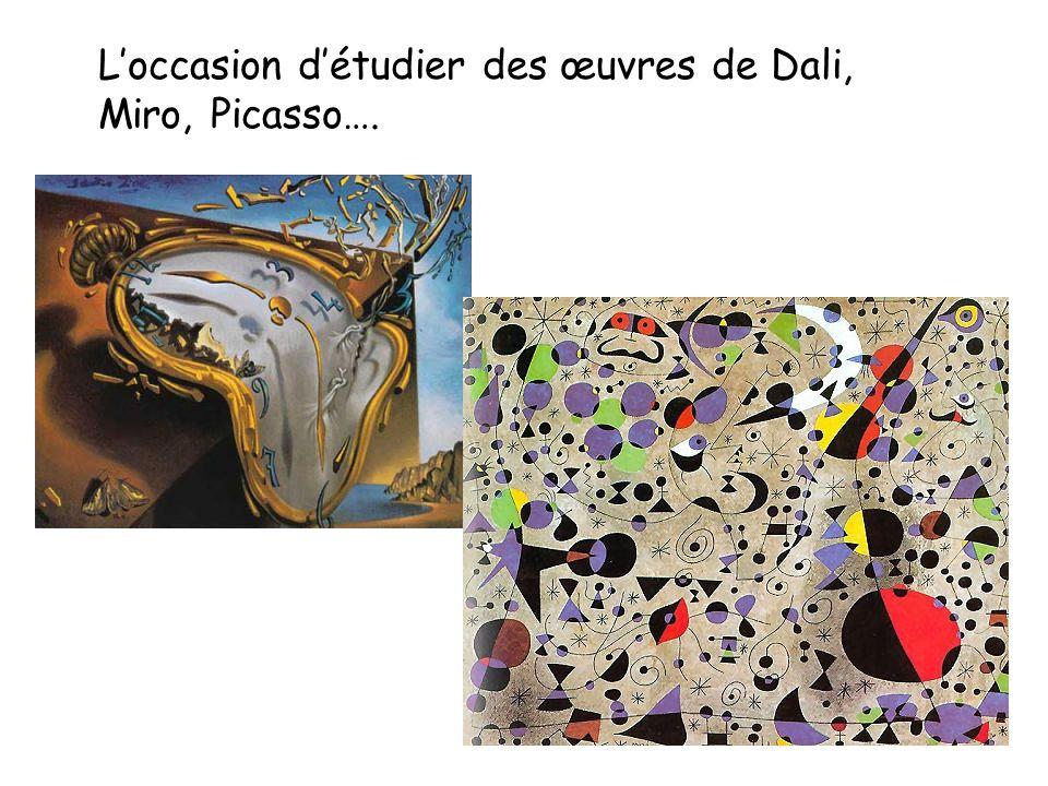 L'occasion d'étudier des œuvres de Dali, Miro, Picasso….
