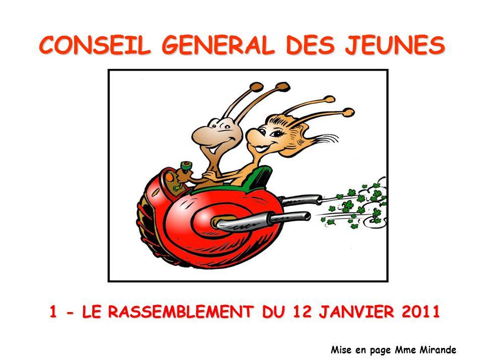 1 - LE RASSEMBLEMENT DU 12 JANVIER 2011 Mise en page Mme Mirande CONSEIL GENERAL DES JEUNES