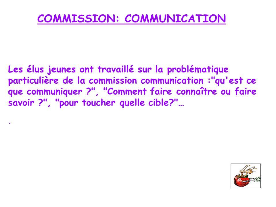 COMMISSION: COMMUNICATION Les élus jeunes ont travaillé sur la problématique particulière de la commission communication :