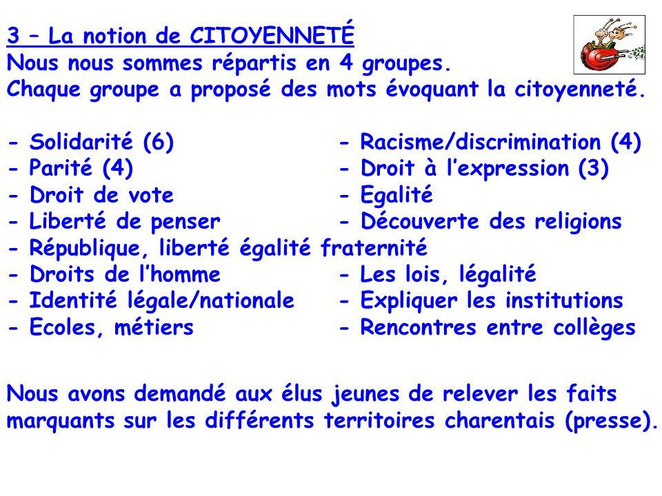 3 – La notion de CITOYENNETÉ Nous nous sommes répartis en 4 groupes. Chaque groupe a proposé des mots évoquant la citoyenneté. - Solidarité (6)- Racis