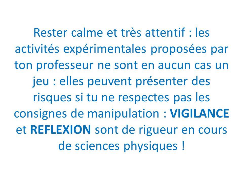 Rester calme et très attentif : les activités expérimentales proposées par ton professeur ne sont en aucun cas un jeu : elles peuvent présenter des ri