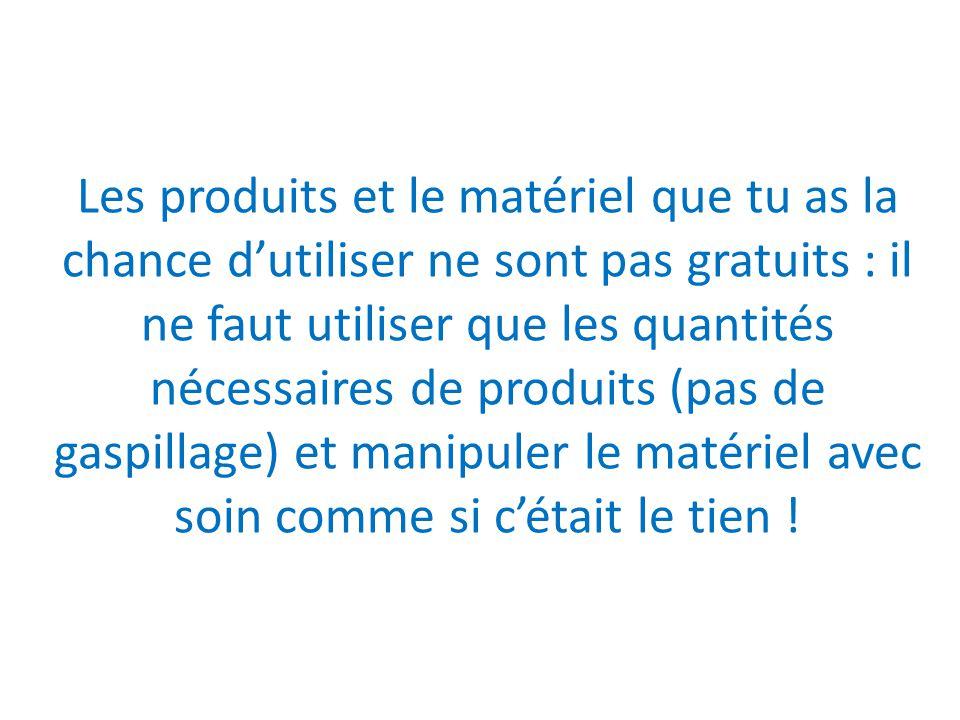 Les produits et le matériel que tu as la chance d'utiliser ne sont pas gratuits : il ne faut utiliser que les quantités nécessaires de produits (pas d