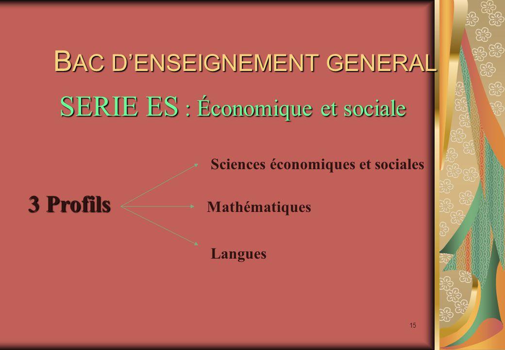 15 B AC D'ENSEIGNEMENT GENERAL B AC D'ENSEIGNEMENT GENERAL 3 Profils Sciences économiques et sociales Mathématiques Langues SERIE ES : Économique et sociale
