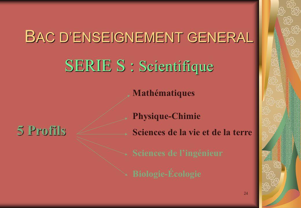 24 B AC D'ENSEIGNEMENT GENERAL SERIE S : Scientifique 5 Profils Mathématiques Physique-Chimie Sciences de la vie et de la terre Sciences de l'ingénieur Biologie-Écologie