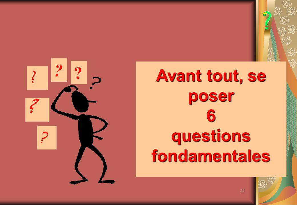 33 Avant tout, se poser 6 questions fondamentales Avant tout, se poser 6 questions fondamentales .