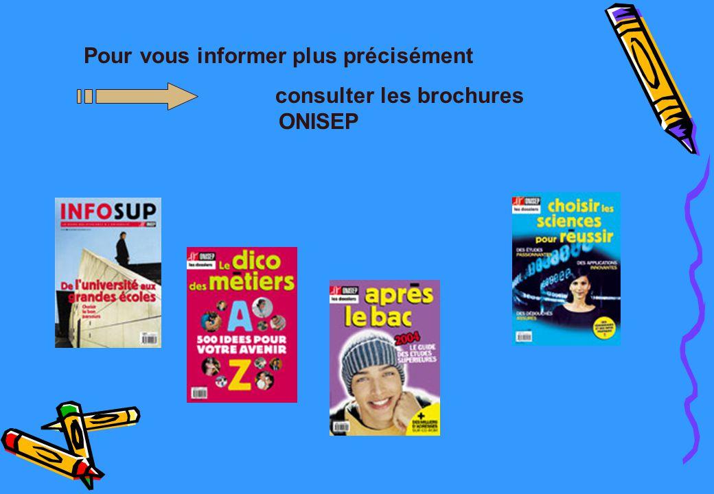 40 Pour vous informer plus précisément consulter la brochure ONISEP « après la classe de 2nde » et les brochures Pour vous informer plus précisément consulter les brochures ONISEP