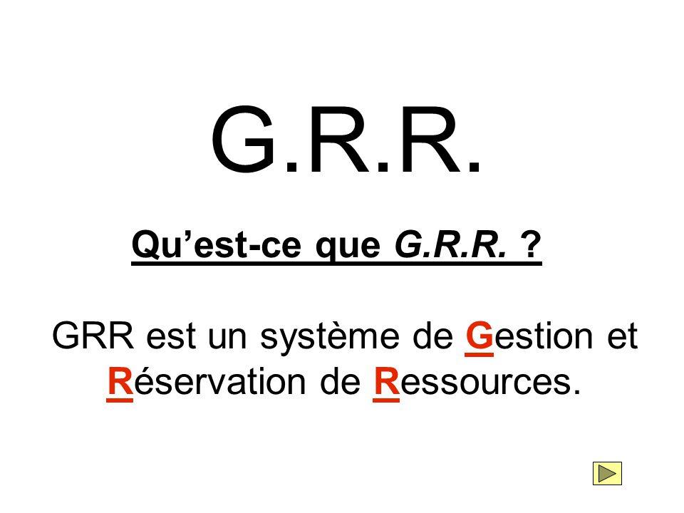 G.R.R. Qu'est-ce que G.R.R. ? GRR est un système de Gestion et Réservation de Ressources.